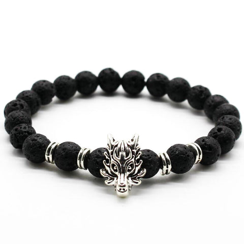 lava stone beads wolf head bracelet for men