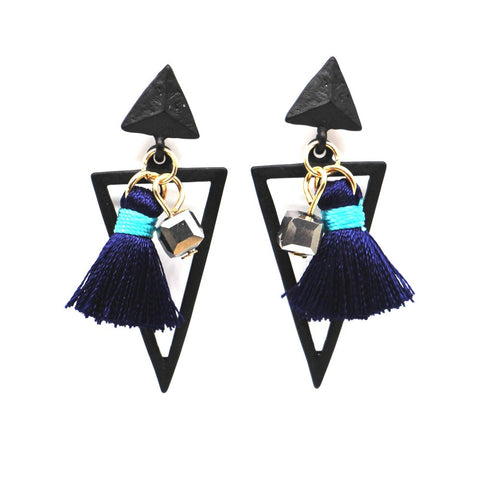 delicate geometric triangle tassel earrings for women