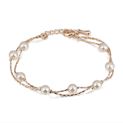double fair charm bracelet & bangle simulated pearl beads - very-popular-jewelry.com