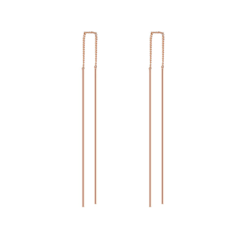 trendy double strip bar long line drop earrings for women
