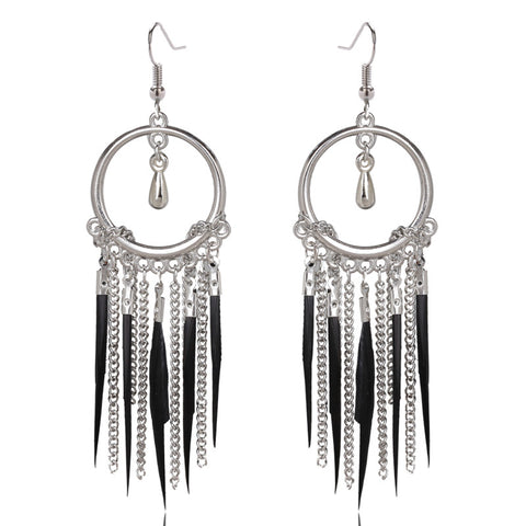 peacock shape long tassel drop earrings