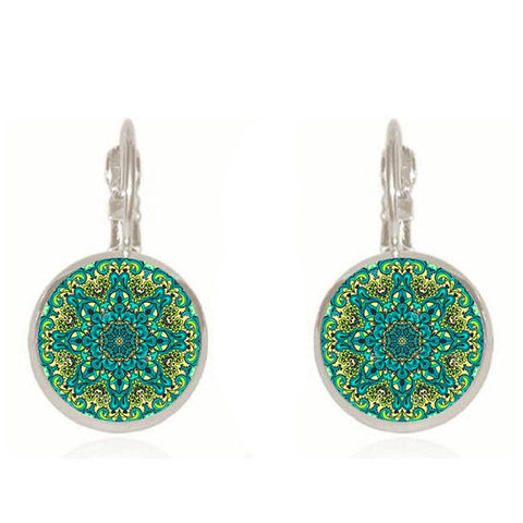 vintage mandala symbol flower earrings - very-popular-jewelry.com