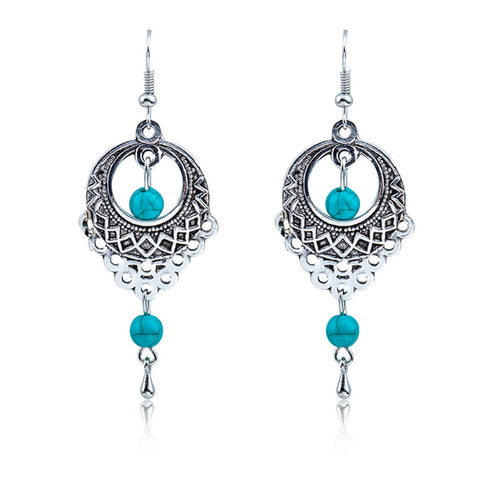 ethnic big silver color blue beads earrings