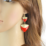 enamel triangle long drop geometric earrings