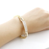 gold color rhinestone elastic chain bracelet - very-popular-jewelry.com