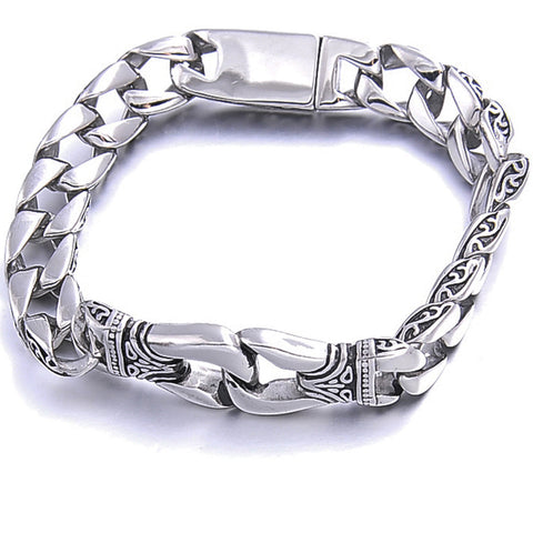 polished stainless steel gothic bracelet for men