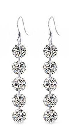 round shaped crystal rhinestone silver plated earrings - very-popular-jewelry.com