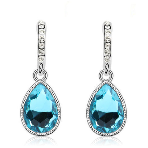 silver plated crystal long earrings for women