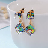 multicolor long drop cube crystal dangle earrings
