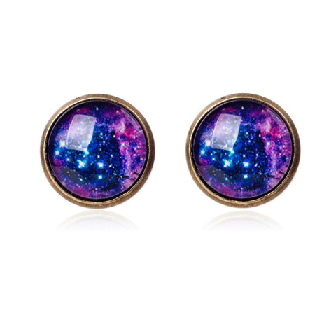 galaxy silver stud earrings - very-popular-jewelry.com