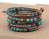 graduated stone with gold color beads wrap bracelet - very-popular-jewelry.com