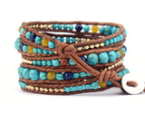 graduated stone with gold color beads wrap bracelet