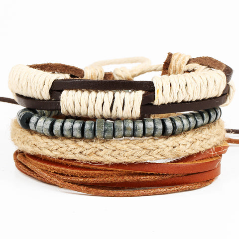 4pcs set genuine wrap leather multilayer bracelet - very-popular-jewelry.com