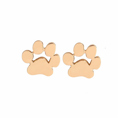 cute paw print silver color earrings
