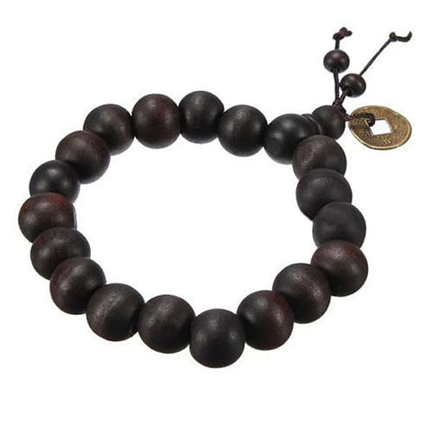 buddhist tibetan strand wood beads bracelet for men