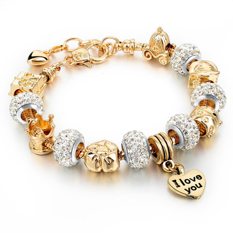 gold color heart charm bracelet & bangle for women - very-popular-jewelry.com