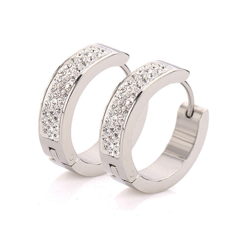 clear crystal stainless steel earrings - very-popular-jewelry.com