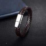 punk style black braided leather bracelet for men