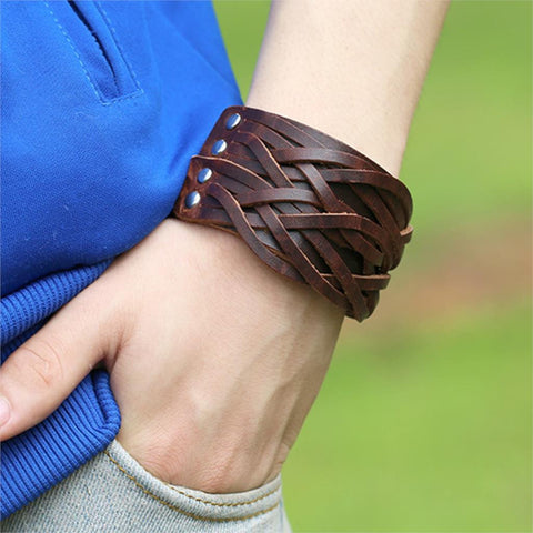 genuine leather punk wide cuff bracelet & bangle