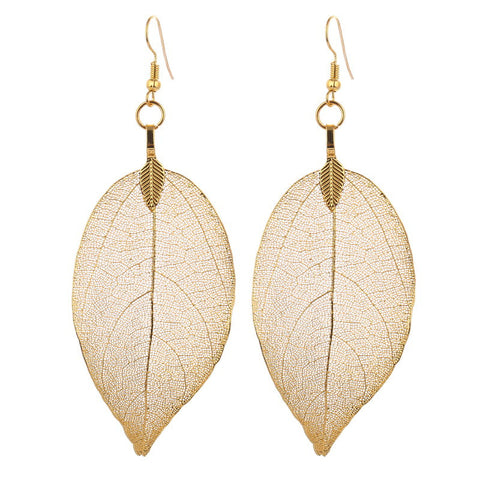 natural real leaf big earrings for women