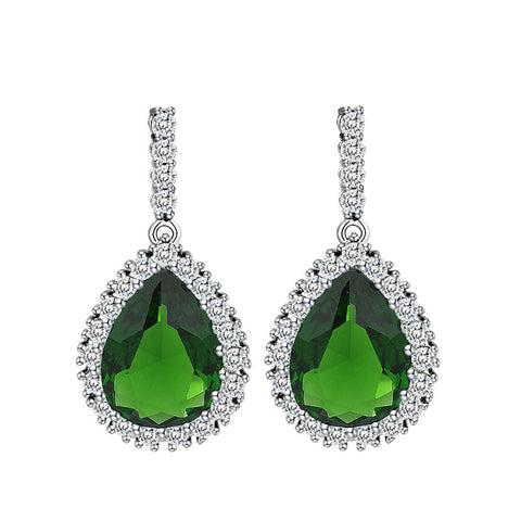 cubic zirconia classic big drop crystal earrings - very-popular-jewelry.com