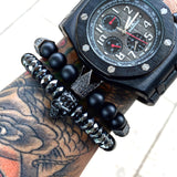 natural stone beads imperial crown bracelet for men - very-popular-jewelry.com