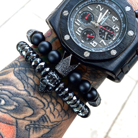natural stone beads imperial crown bracelet for men
