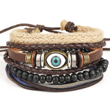 4 pcs anchor bead leather bracelet - very-popular-jewelry.com