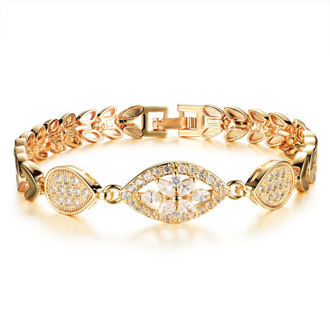 luxury gold color chain link bracelet for women