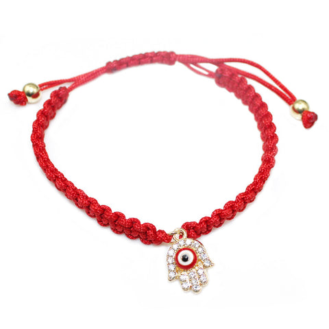 red cord handmade hamsa hand eye charm bracelet - very-popular-jewelry.com