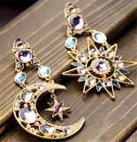 elegant crystal sun and moon drop long earrings for woman