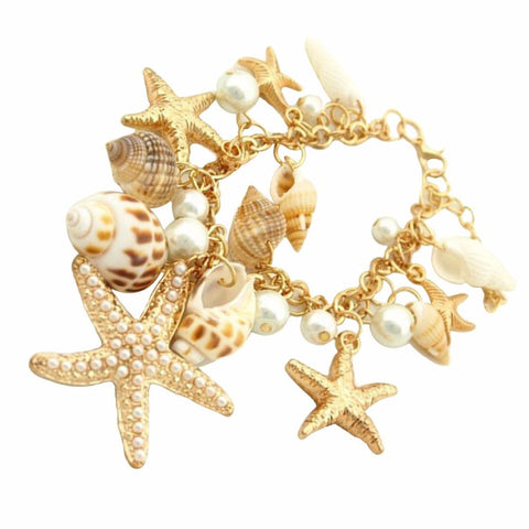starfish & shell elements bracelet for women - very-popular-jewelry.com
