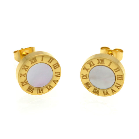 roman numerals stud earrings - very-popular-jewelry.com