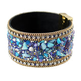 stones & leather bangle bracelet with magnetic clasp