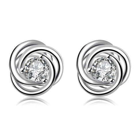 inlaid crystal rotation stud earrings - very-popular-jewelry.com