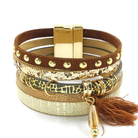 bohemian multilayer leather & tassel bracelet for women