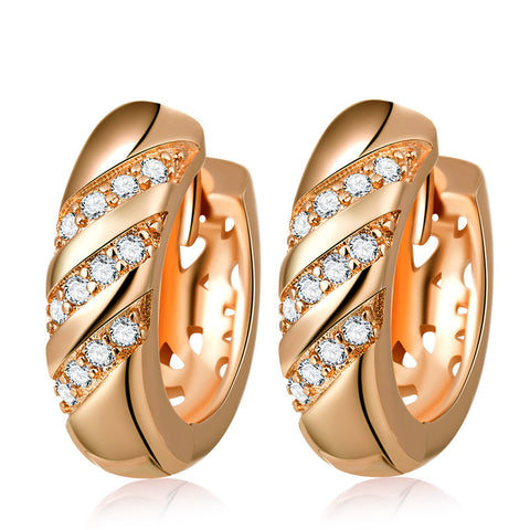 luxury rose gold color stud earrings - very-popular-jewelry.com