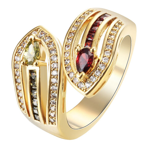 luxury golden yellow color cz zircon ring for women