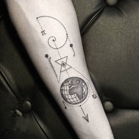 cool earth geometry pattern temporary tattoo sticker