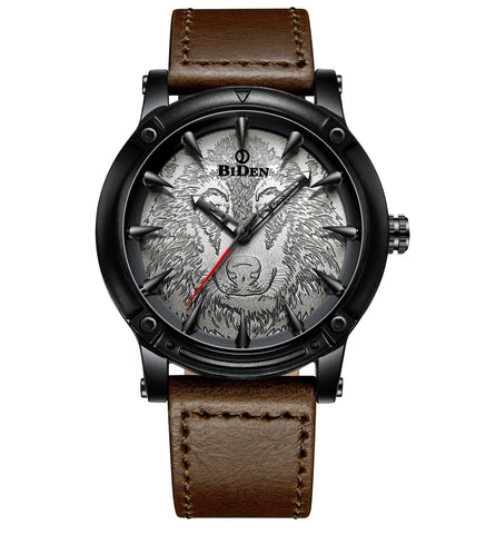 cool wolf engraved dial genuine leather quartz wrist watch for men