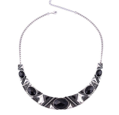 vintage silver color black resin bead choker necklace for women