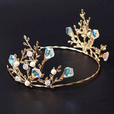 trendy colorful crystal flower ornament tiara crown for women
