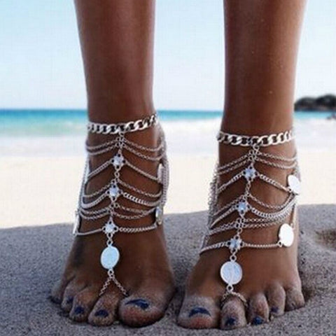 bohemian multi layer metal coin tassel pendant anklet for women