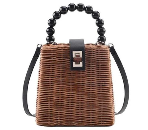 trendy weave straw & beads beach tote hand bag for women