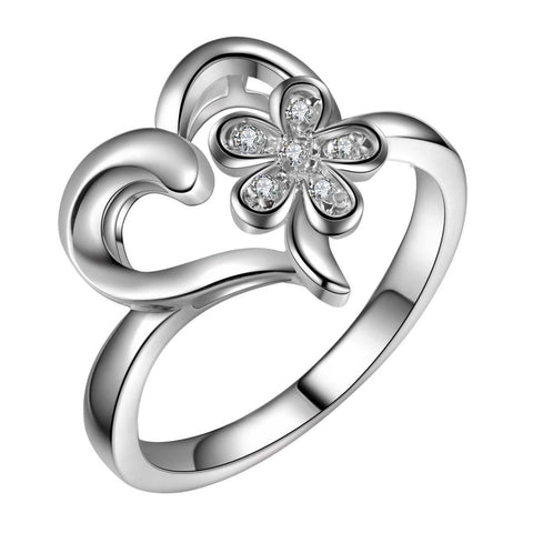 silver plated heart & cz flower ring for Women