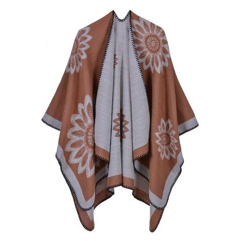 casual flower print long thick poncho scarf for women