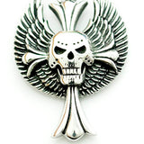 punk style wings skull cross stainless steel pendant necklace