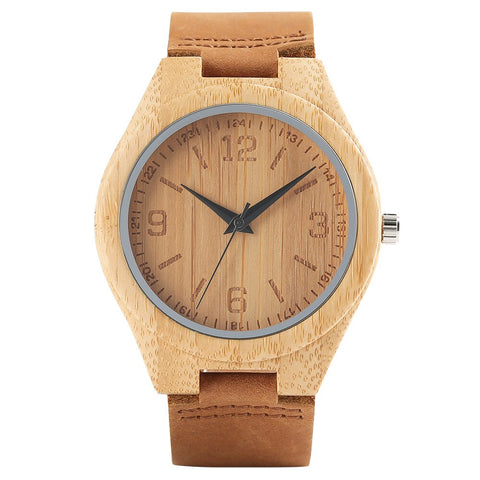 trendy wooden dial genuine leather band wrist watch