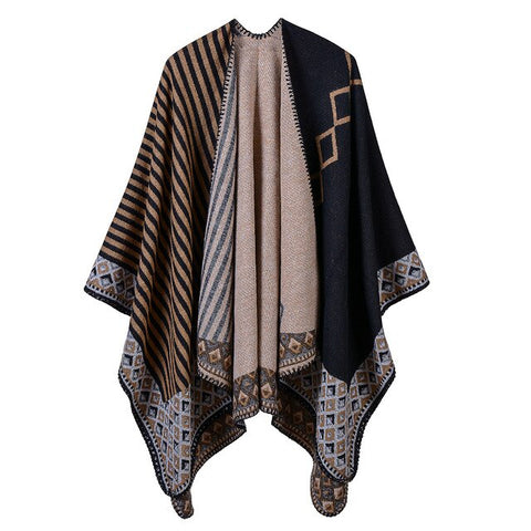 casual geometric pattern long thick poncho scarf for women