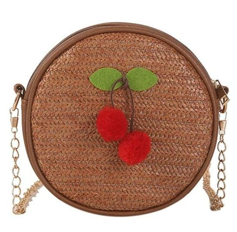 cute straw woven cherry charm round shoulder bag for women